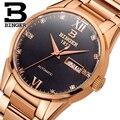 Швейцарские мужские часы  роскошные брендовые автоматические механические часы BINGER  полностью из нержавеющей стали  водонепроницаемые  са...