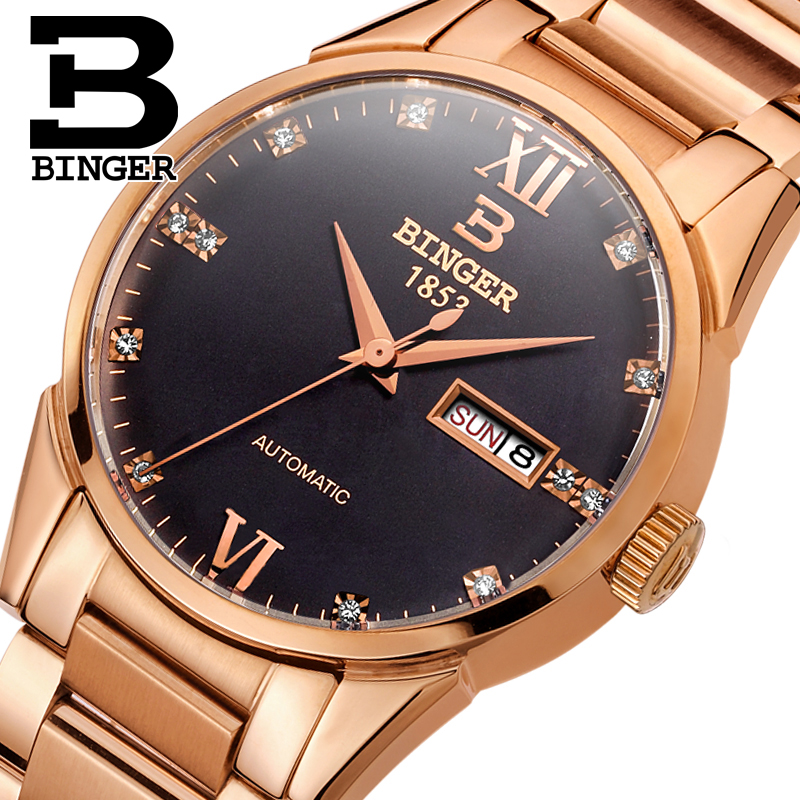 Switzerland mens watch luxury brand Wristwatches BINGER 18K gold Mechanical Wristwatches full stainless steel waterproof  B1128Switzerland mens watch luxury brand Wristwatches BINGER 18K gold Mechanical Wristwatches full stainless steel waterproof  B1128