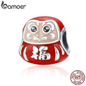 BAMOER Hot Sale 100% 925 Sterling Silver Japan Daruma Red Enamel Beads fit Charms Women Bracelets Jewelry Making SCC1087(China)