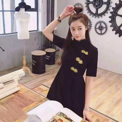 Japanese Harajuku Vintage Gothic Lolita Black Red Slim Chinese Style Cheongsam Dress 1