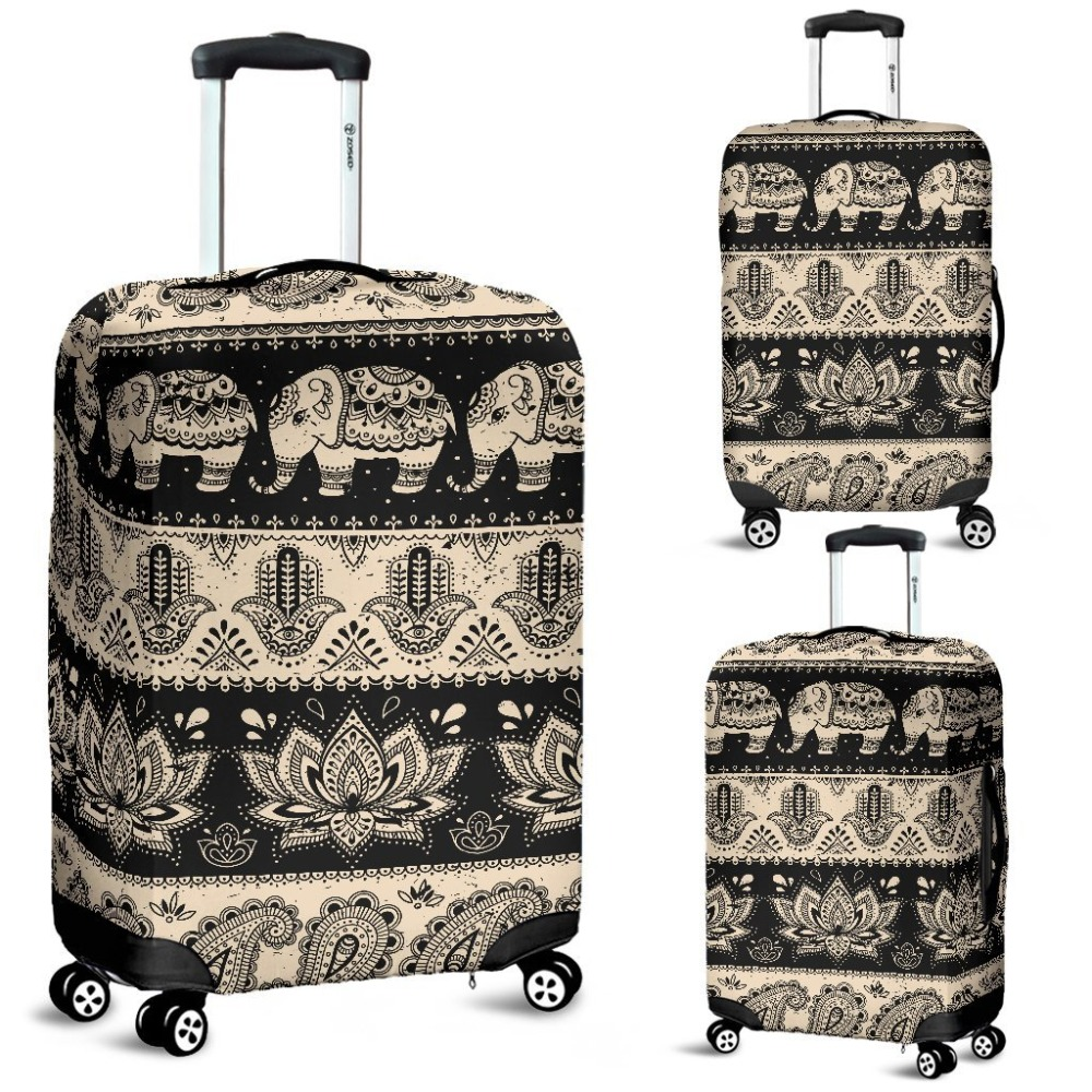 Nopersonality Elephant Hansa Lotus Pattern Travel Luggage Cover Elastic Waterproof 18-32 Inch Suitcase Cover Protector