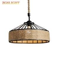 Araña de cuerda de cáñamo Vintage Retro E27 lámpara de Industrial Retro Base Loft lámpara de hierro para dormitorio comedor Café bar candelabro|Luces colgantes| |  -
