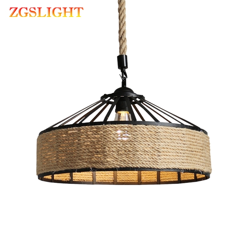 Hemp Rope Chandelier Vintage Retro E27 Industrial Retro Lamp Base Loft Iron Lamp Bedroom Dining Room Cafe Bar Chandelier