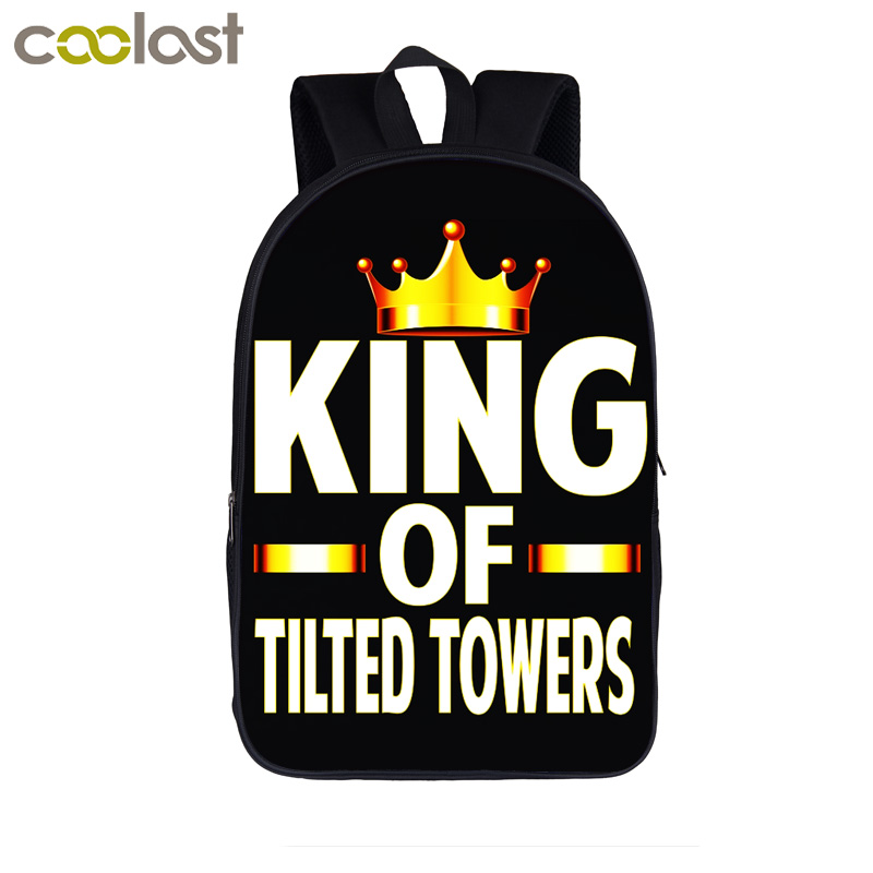 Funny King of Tilted Tower Backpack For Teenager Boys Girls Book Bag School Backpack Children School Bags Women Travel Bag Gift women backpack 2016 solid corduroy backpack simple tote backpack school bags for teenager girls students shoulder bag travel bag