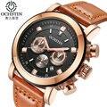 Ochstin cronógrafo reloj de cuero casual relojes de cuarzo de los hombres a estrenar de lujo militar ejército deportes reloj de pulsera relogios