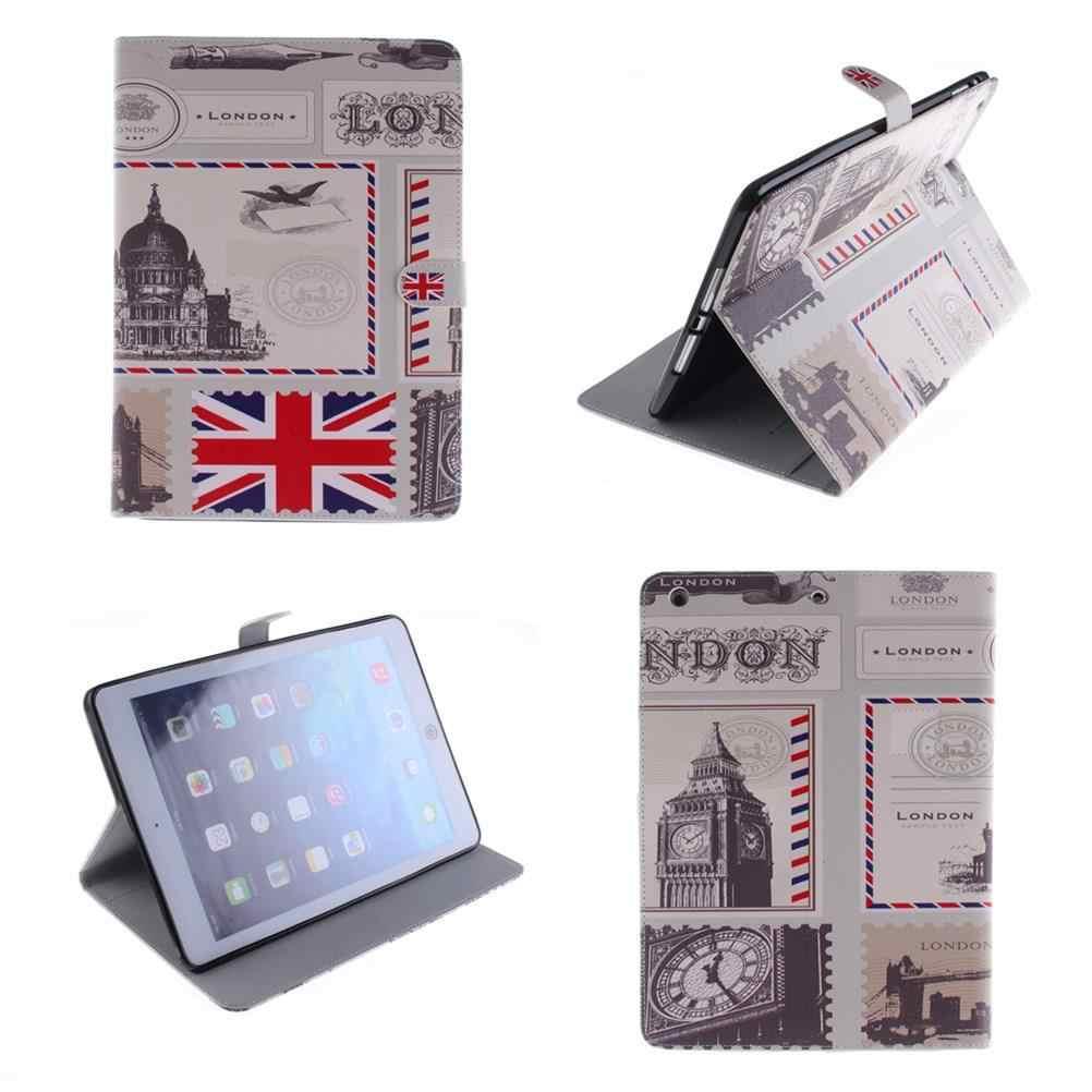 旗と城フリップ Pu レザータブレットスタンドケースのための ipad 空気 2 1 アップルの ipad 6 5 4 3 2 スマートケースカバーのための ipad mini 4 3 2