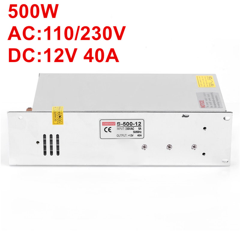 New Arrival 12V 40A 500W Switching Power Supply 12V 40A Driver for LED Strip 110-220V free switching input AC- 480w 500w led switching power supply 12v 40a power supply 12v output 85 265ac input free shipping
