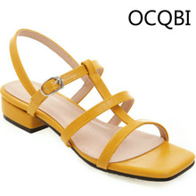 Womens PU Block Square Low Heel Sandal Shoes Summer Sandals Street Shoes Women Shoes Summer Outfits Yellow Sandals