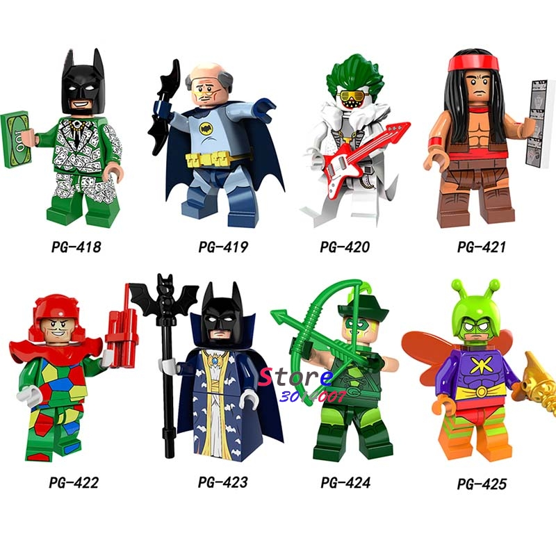 50 Stücke Avengers Master Batman Figur Crazy Quilt Master Batman Cacique Mörder Motte Pfeil Alfred Baustein Für Kinder Spielzeug