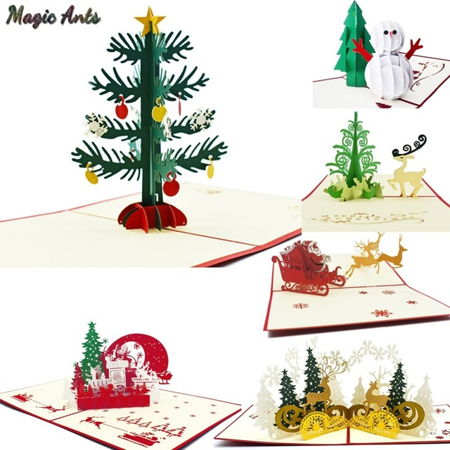 merry christmas cards christmas tree winter gift pop up cards christmas decoration stickers laser cut new - Pop Up Decorated Christmas Tree