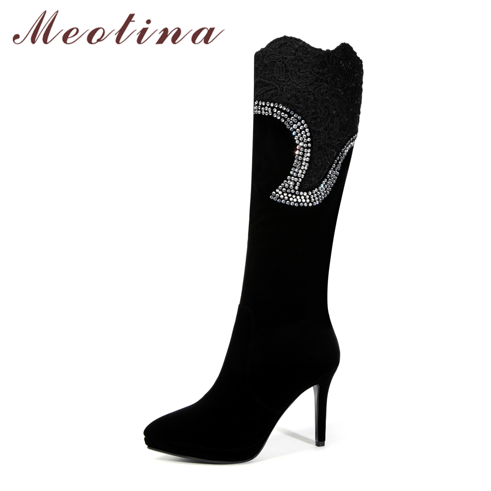Meotina Knee High Boots Women Winter Crystal High Heel Boots Fashion Black Long Boots Ladies Tall Shoes Black Autumn Size 33-43Meotina Knee High Boots Women Winter Crystal High Heel Boots Fashion Black Long Boots Ladies Tall Shoes Black Autumn Size 33-43