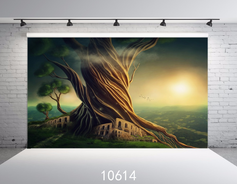 아기 배경 사진 스튜디오 소품 오래 된 나무 태양 판타지 배경 사진 배경 아이 얇은 비닐 5x7ft 사용자 지정