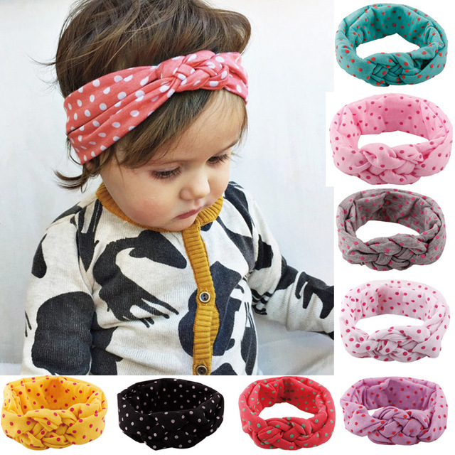 ca712040166 10pcs lot Fashion Baby Top Knot Headbands Baby Headwrap Polka Dot Cross Knot  Baby Turban Tie Knot Headwrap Christmas Gift