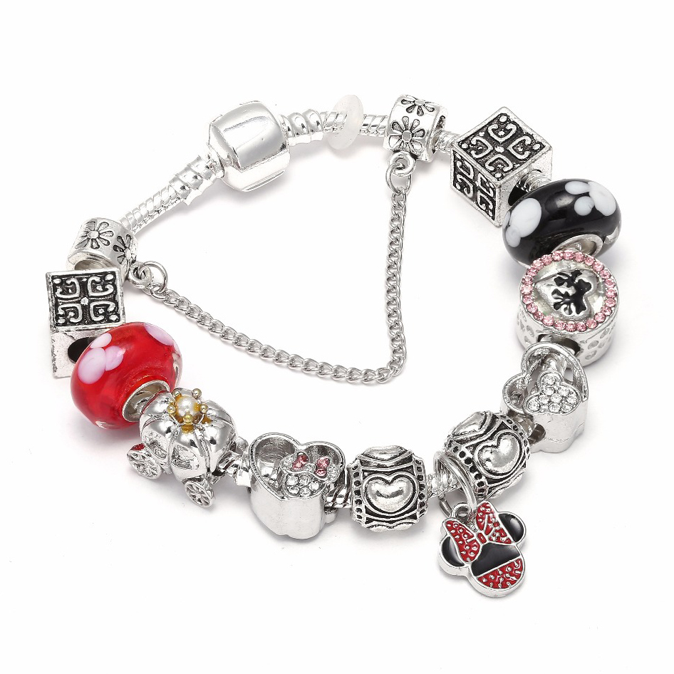Dropshipping Mickey Minnie Charm Bracelet With Red Marano Beads Fits DIY Pandora Bracelet For Women Kids Festival Jewelry Gift