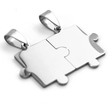 Puzzles Pendant connected jigsaw charms blank ID tags for diy print both sides mirror polished Stainless Steel 10pcs