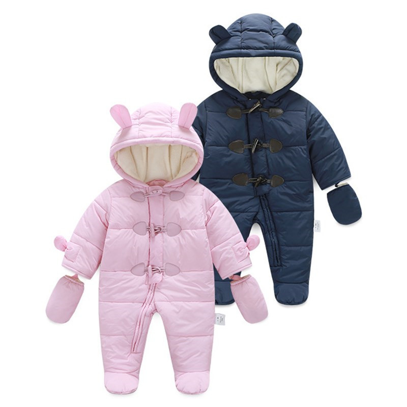 New Baby Boys Girls Pure Cotton Rompers Thicken Hooded Long Sleeved Warm Clothes Bebe Winter Outdoor To Keep Warm Jumpsuit warm thicken baby rompers long sleeve organic cotton autumn