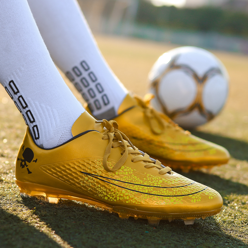 59b802322a5 BomKinta 2018 Men Soccer Shoes Boy Futsal Sneakers Gold Orange Football  Boots Professional Indoor Trainers Non Slip Sport Shoes-in Soccer Shoes  from Sports ...