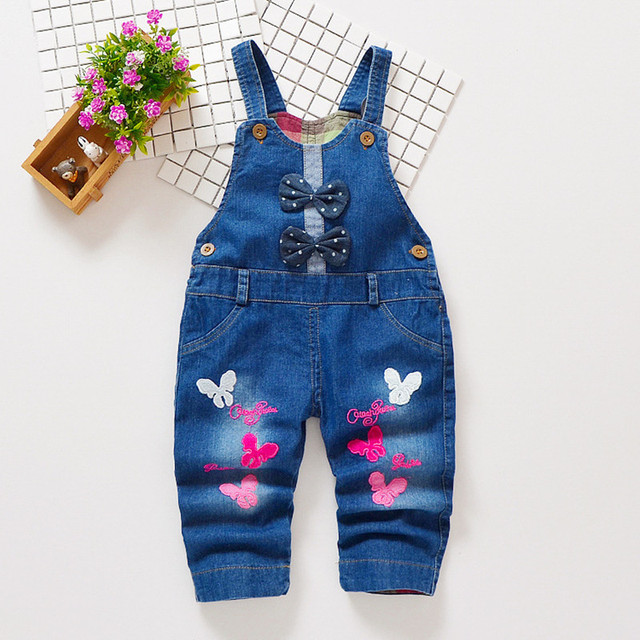 9b43ea543d8 New Free shipping 2018 spring autumn Baby girls bow denim bib pants infant  jumpsuit