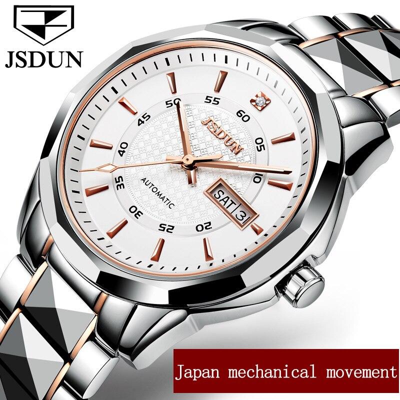 Jsdun Для мужчин S Часы бренд класса люкс автоматические механические часы Для мужчин полный Сталь Бизнес Водонепроницаемый Спорт Часы Relogio ... ...