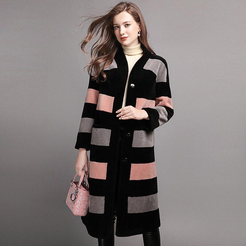 Veste Vêtements D'hiver En Luxe Femmes De Fourrure Dame Couleur Laine Manteau D'agneau blue Vive 2017 Manteaux Véritable Pink zFw80qPW0