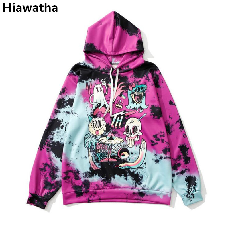 Hiawatha Digital 3D Printed Hoodies For Women Autumn Long Sleeve Skull Pattern Sweatshirt Harajuku Style Girl Hoody WY1396