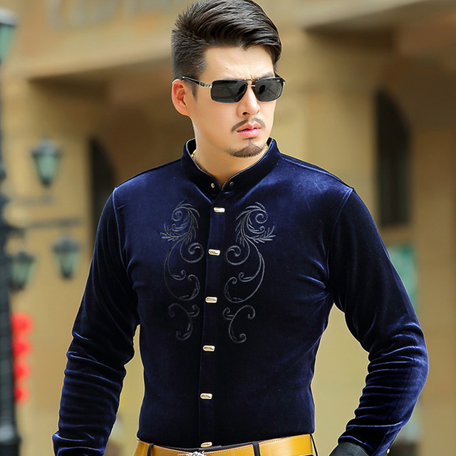 Luxury Quality Manufacturers Supply Jinsirong Men Velour Shirts 2017 New  Plus Size S-4XL Thickening Embroidery Shirt Wholesale 0a13cc84eca5