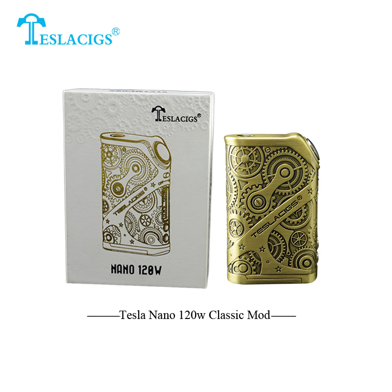 Classic Electronic Cigarettes Tesla Nano 120w Box Mod 120w teslacigs Mod 510 thread dual 18650 battery Mechanical Mod VS Alien