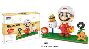 Image 5 - ZMS Game Marirro Luirgi Yoshri Bowse Fire Cat Mariro DIY Mini Building Micro Diamond Blocks Brick Kids Toy Flower Coin box