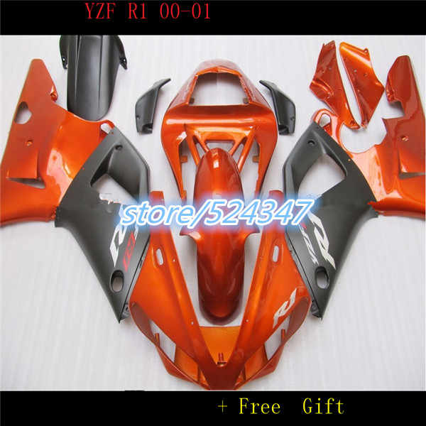 Hey-For  YZFR1 2000 2001 orange black 00-01 YZF1000 2000 2001 R1 YZF R1 YZF1000 2000-2001  Fairing Set Plastic for Yamaha