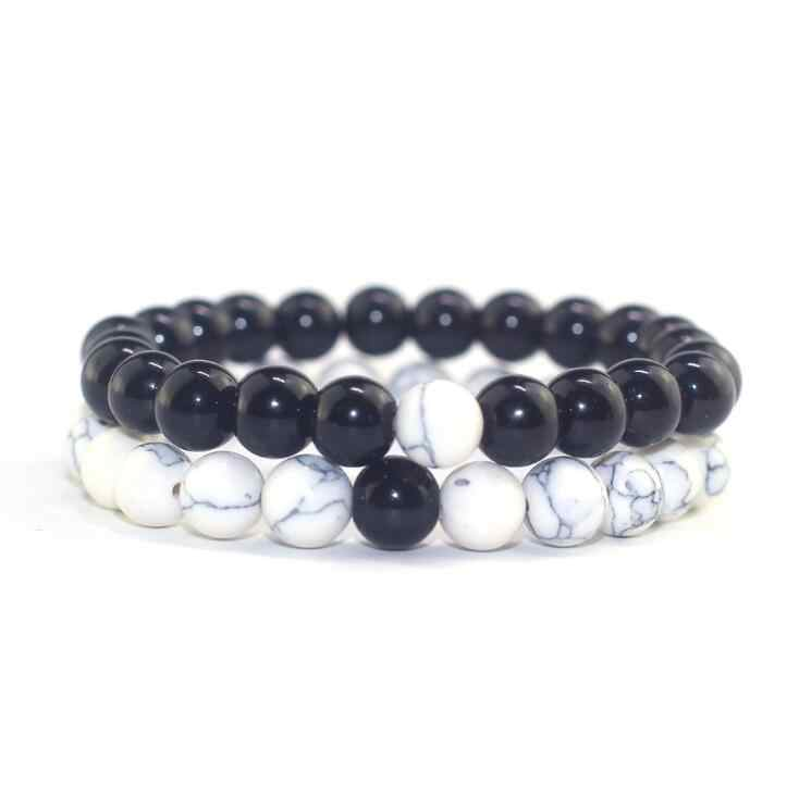 2Pcs/Set Couples Distance Bracelet Classic Natural Stone White and Black Yin Yang Beaded Bracelets for Men Women Christmas gifts