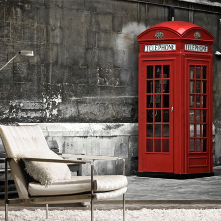 London Red Phone Booth Large Windows Bedroom Sofa TV Wall Mural Wallpaper Wallpaper 567 In