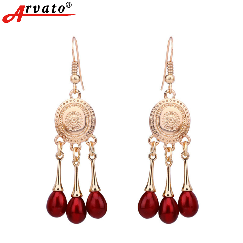 Arvato 2018 New Boho Vintage Red Pearls with hanging earrings costume jewelery Classic Ethnic Gold 585 earrings for women gifts