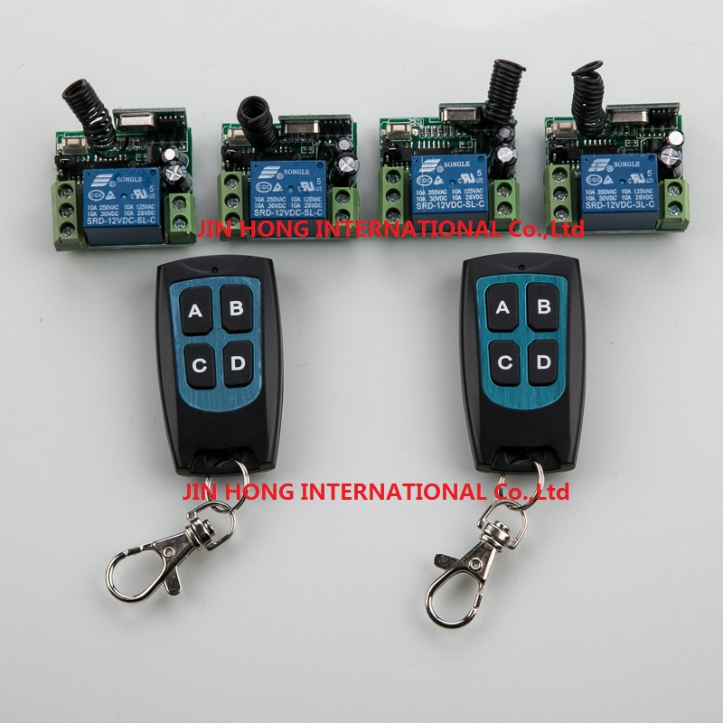 RF Wireless DC 12V Remote Control Switch 1CH Interruptor 10A 4*Receiver & 2*Transmitter Ligh witch relay smart house z-wave