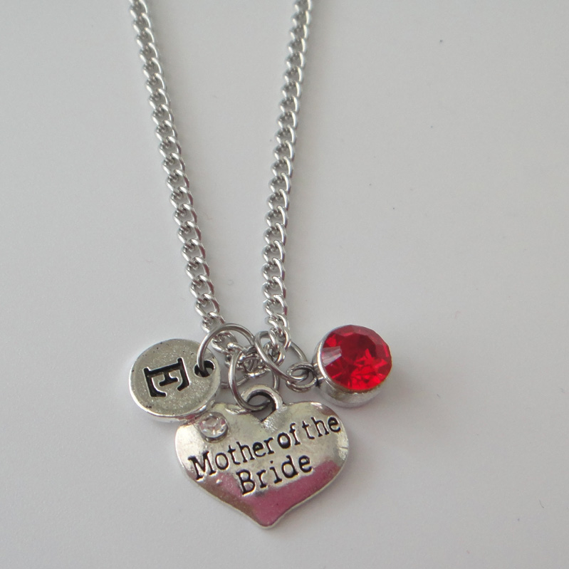 Mother Of The Bride Jewelry: Mother Of The Bride Necklace, Mother Birthstone Initial