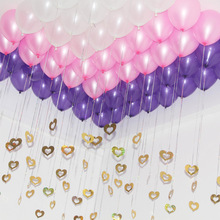 100Pcs/lot Beautiful Laser  Sequins Pendant Heart Tassel Helium Balloon Accessories Wedding Party Marriage Valentines Day Decor