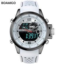 men sports watches dual display quartz watches analog digital LED watches rubber strap BOAMIGO brand Electronic 30M wristwatches