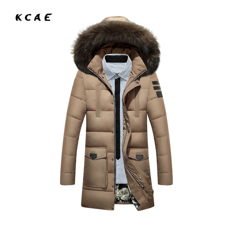 2017 new White duck down Cotton clothing men Thick in the long coat Winter men's lapel Hooded Winter clothes jacket Black cotton nights in white cotton