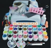 36w lamp Pro 36 Color UV Gel Builder Nail Art brush pen cuticle fork Form Files tips Finger topcoat Base Cleanser plus Tool Kits