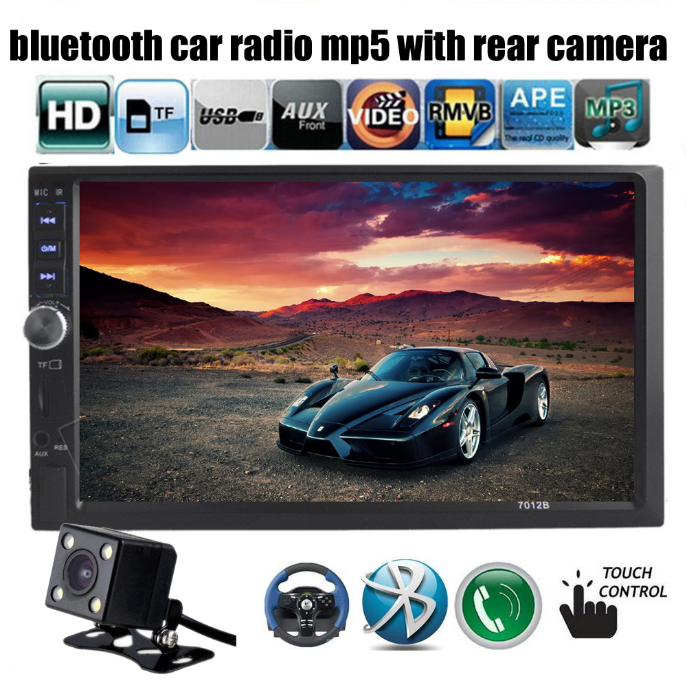 7012B rear view camera + 7 inch touch big screen Bluetooth Car MP4 MP5 Player 12V support Touch /TF/USB/FM Car radio Audio Video car radio audio stereo with 2usb bluetooth tf fm mp4 player touch screen support rear camera hot sale 2din 6 2 inch