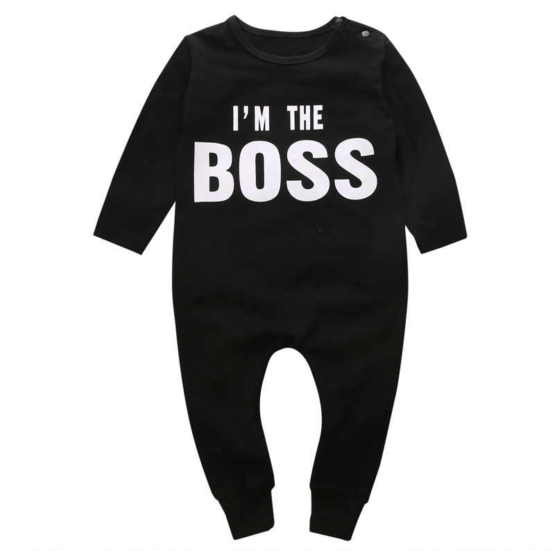 cccbcd64 New Fashion Newborn Kids Baby Boy Girl Long Jumpsuit Romper O-Neck Print  Letter Clothes