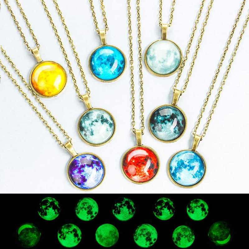 Fashion Luminous Star Series Planet Kalung Liontin Kristal Cahaya Di Kegelapan Kalung Perhiasan Natal