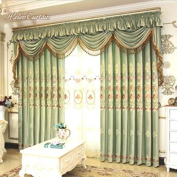 Helen Curtain Lotus Leaf Green Embroidered Valance Curtain For Living Room Luxury Velvet Window Curtains European Pastoral Desig