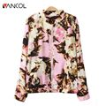 2015 New Fashion Europe and American Style Women Ppring autumn Vintage Printed jackets zipper jacket feminino coat