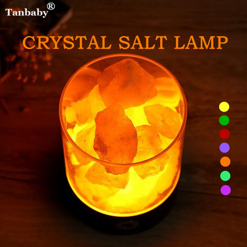Tanbaby USB Crystal Salt Night Light Himalayan Crystal Rock Salt Lamp Air Purifier Night Light Touch Dimmer Switch Creative Gift new led night light eu us plug himalayan salt lamp air purifier crystal salt rock night lamp for office desk bedside bedroom