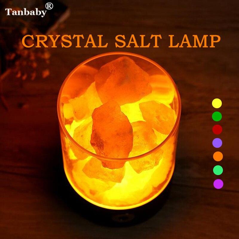 Tanbaby USB Kristall Salz Nachtlicht Himalaya Steinsalz Lampe Nachtlicht Luftreiniger Touch Dimmer Kreative Geschenk