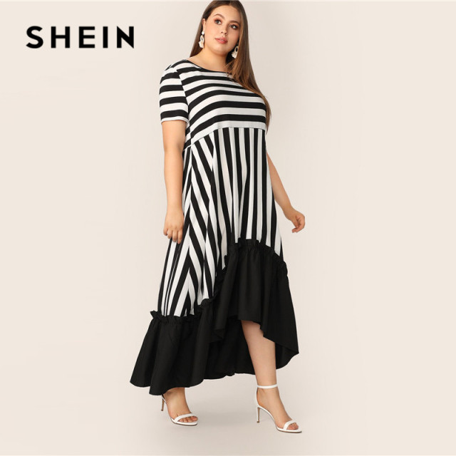 SHEIN Plus Size Black And White High Low Hem Striped Dress 2019 Women Summer Modest Casual Ruffle Hem High Waist A Line Dresses 1
