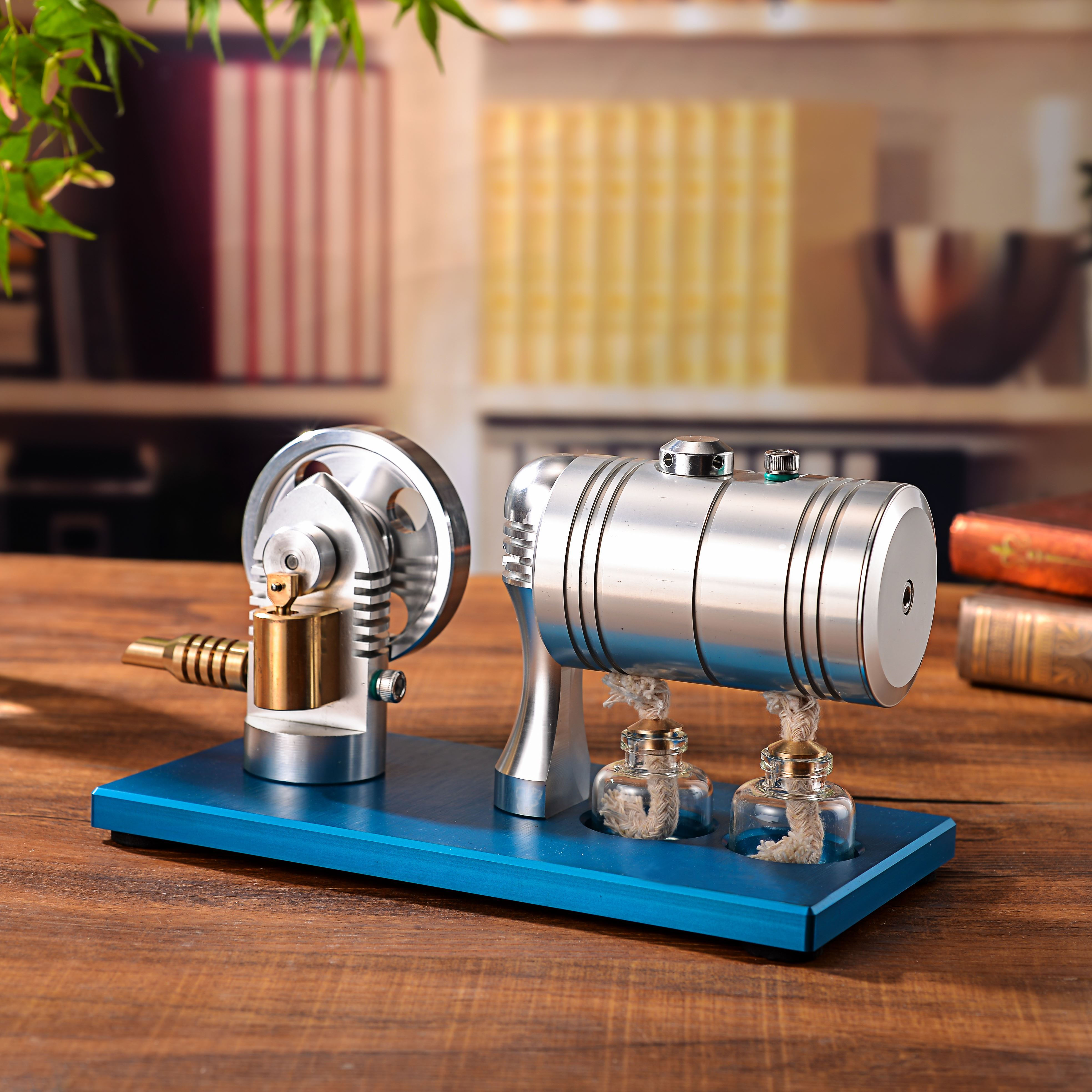 Metal Bootable Steam Engine Model Retro Stirling Engine Model with Heating Boiler Alcohol Burner Early Education Toys For Kids