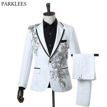 Fashion Embroidery Sequins Floral Suit Blazer Men One Button White 2 Piece Suit (Jacket+Pants) Party Stage Singer Wear Costume
