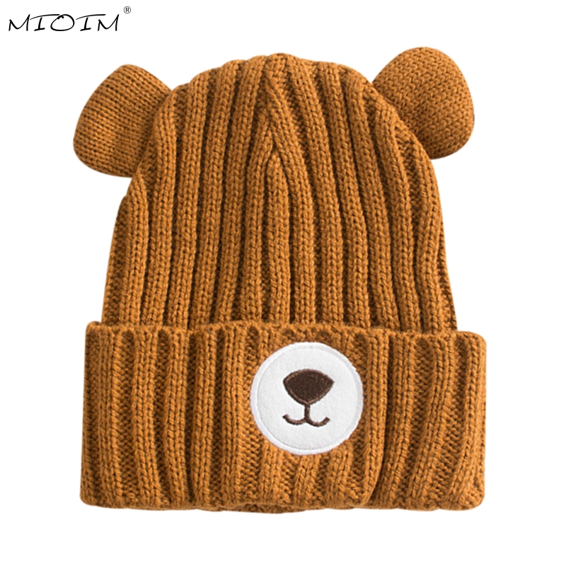 MIOIM 2017 Autumn Winter Warm Cute Baby Hat Cotton Beanie Bear Ear Cap Toddler Baby Girls  Boys Knitted Skullies Kids 3 soft sole baby first walker leather shoes infant toddler footwear anti slip cotton cute baby shoes girls winter warm 70a1048