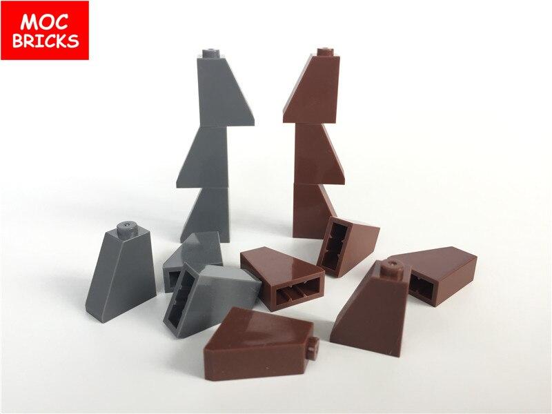 100 шт./лот MOC кирпичи Сделай Сам коричневый и темно-серый наклонные кирпичи 1x2x2 подходит для 60481 образовательных строительных блоков экшн-фиг...